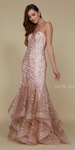 Nox Anabel T153 Long Halter Mermaid Gown Gold High End Look