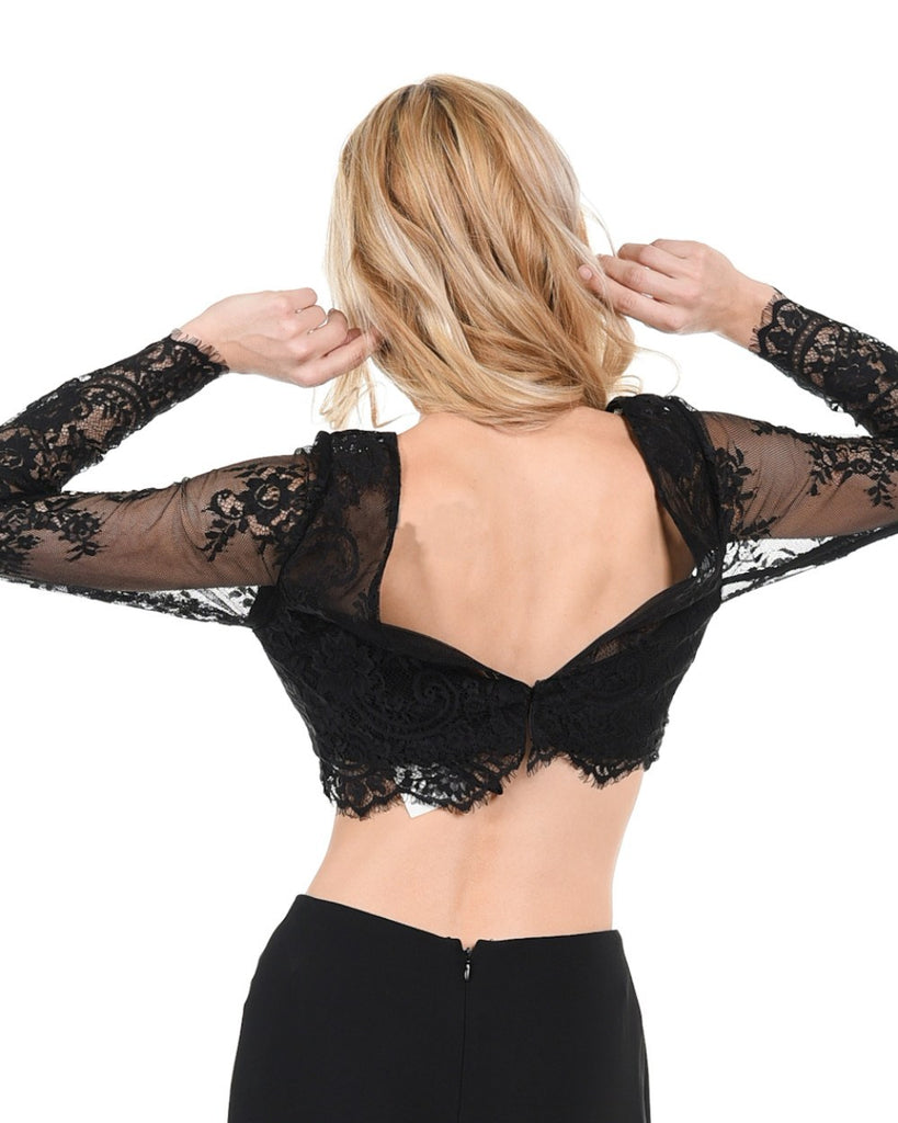 Poly USA T16 - Black Lace Crop Top With Long Sleeves Back View