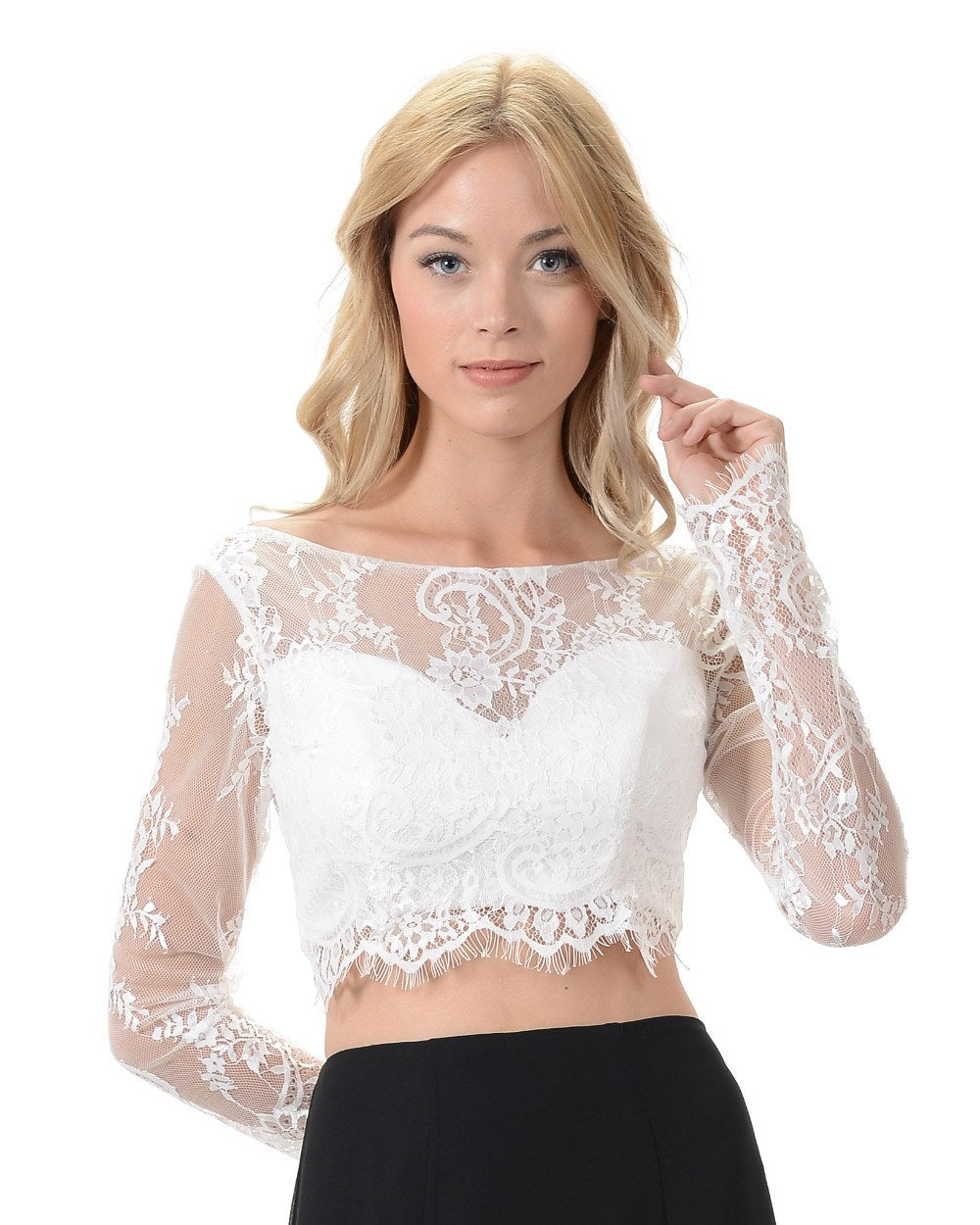 85372e82a9e82c Poly USA T17 - Off White Lace Crop Top With Long Sleeves ...