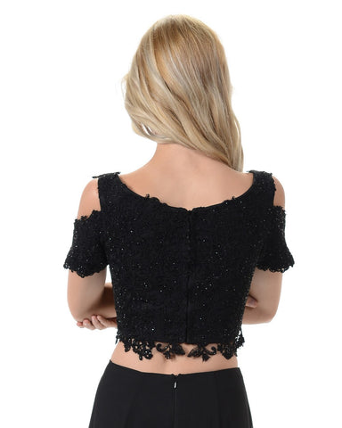 Poly USA T18 - Black Cold Shoulder Lace Crop Top With Short Sleeves Back View