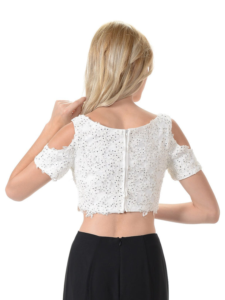 Poly USA T19 - Off White Cold Shoulder Lace Crop Top With Short Sleeves Back View