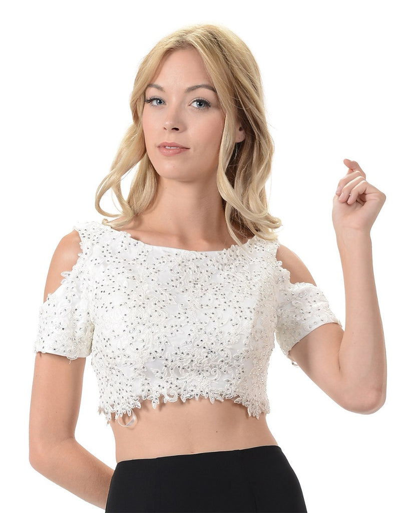 Poly USA T19 - Off White Cold Shoulder Lace Crop Top With Short Sleeves