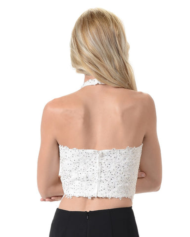 Poly USA T21 - Beautiful Lace Crop Top Halter Neckline Adorned With Stones Back View