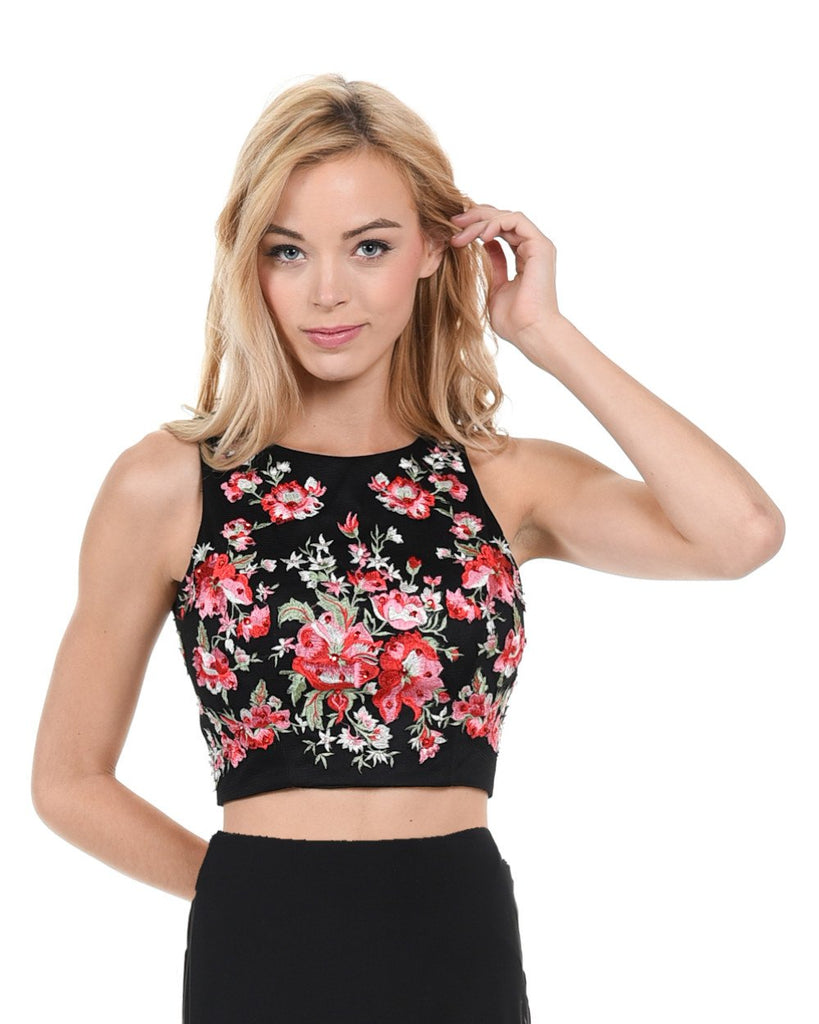 Poly USA T22 - Sleeveless Black Crop Top Multi Colored Embroidery and Stones