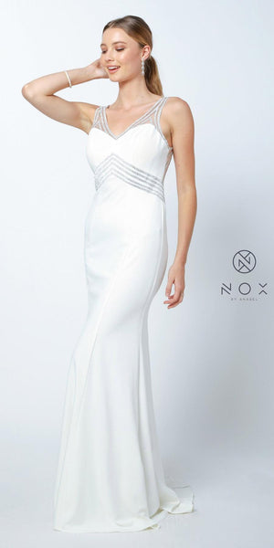 Ivory V-Neck Fit and Flare Long Prom Dress Cut-Out Back