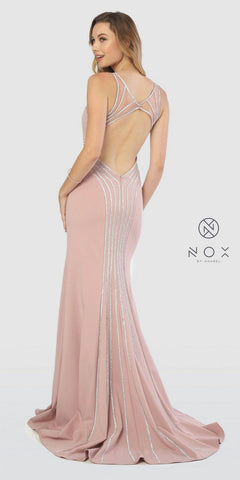 Rose V-Neck Fit and Flare Long Prom Dress Cut-Out Back