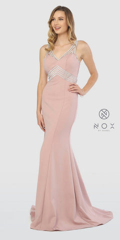 Tiered Halter V-Neck Long Prom Dress Mauve