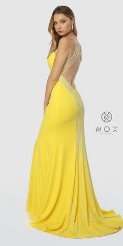 Yellow V-Neck Fit and Flare Long Prom Dress Cut-Out Back