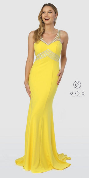 4753dc608 Nox Anabel T253 Yellow V-Neck Fit and Flare Long Prom Dress Cut-Out Back –  DiscountDressShop