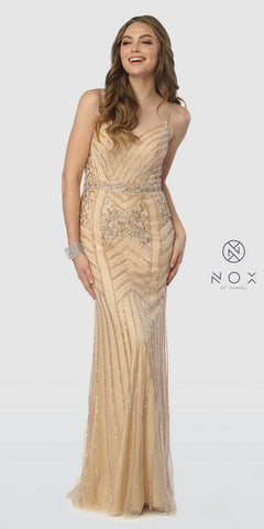 V-Neck Glitter Metallic Prom Ball Gown Gold