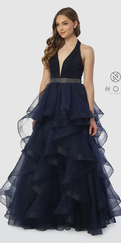 Tiered Halter Long Prom Dress Embellished Waist Navy Blue