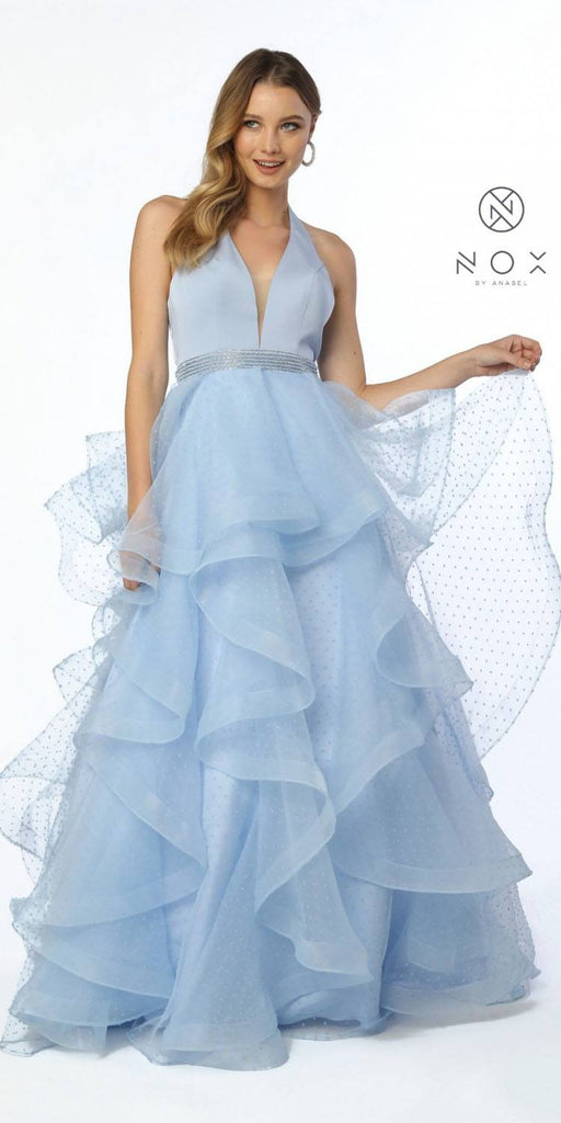 Tiered Halter Long Prom Dress Embellished Waist Periwinkle