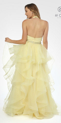 Tiered Halter Long Prom Dress Embellished Waist Lemon