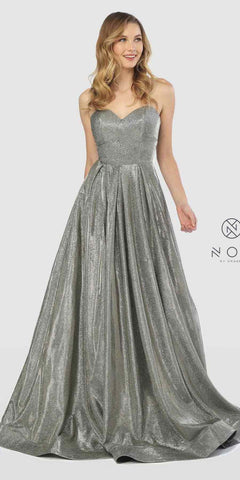 Sweetheart Neck Metallic Strapless Long Prom Gown Champagne