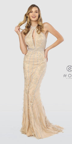 Gold Halter Mermaid Style Long Prom Dress