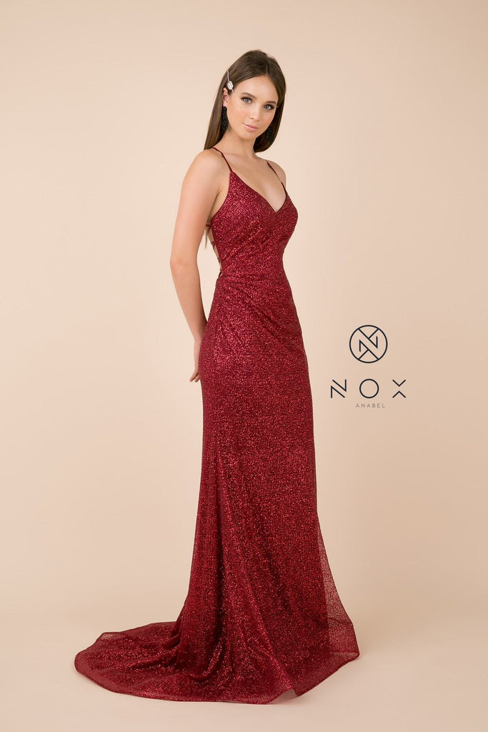 Lace Up Back Burgundy Long Prom Dress V-Neck