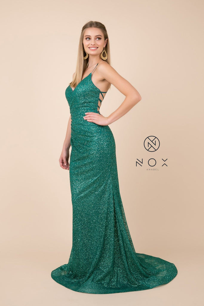 Lace Up Back Green Long Prom Dress V-Neck