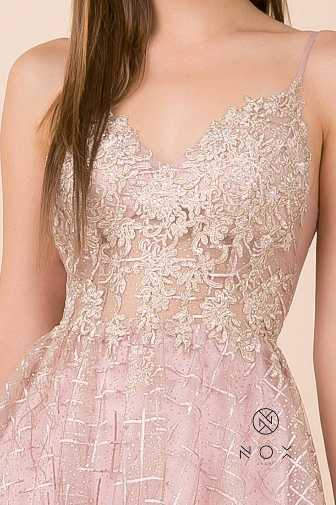 Appliqued Prom Ball Gown Mauve V-Neck