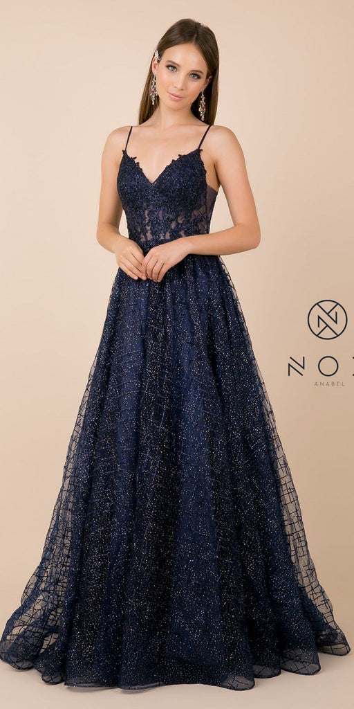 Appliqued Prom Ball Gown Navy Blue V-Neck