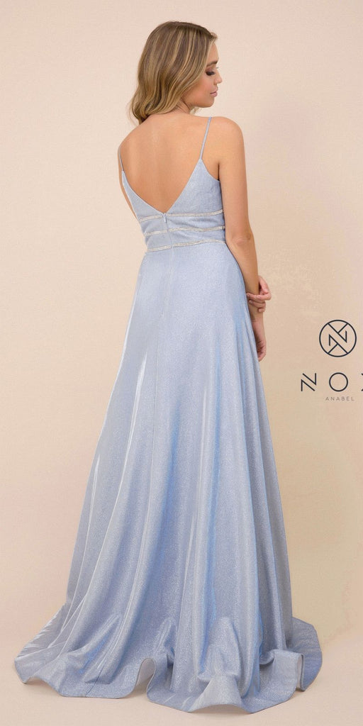 Blue Metallic Long Prom Dress with Spaghetti Straps