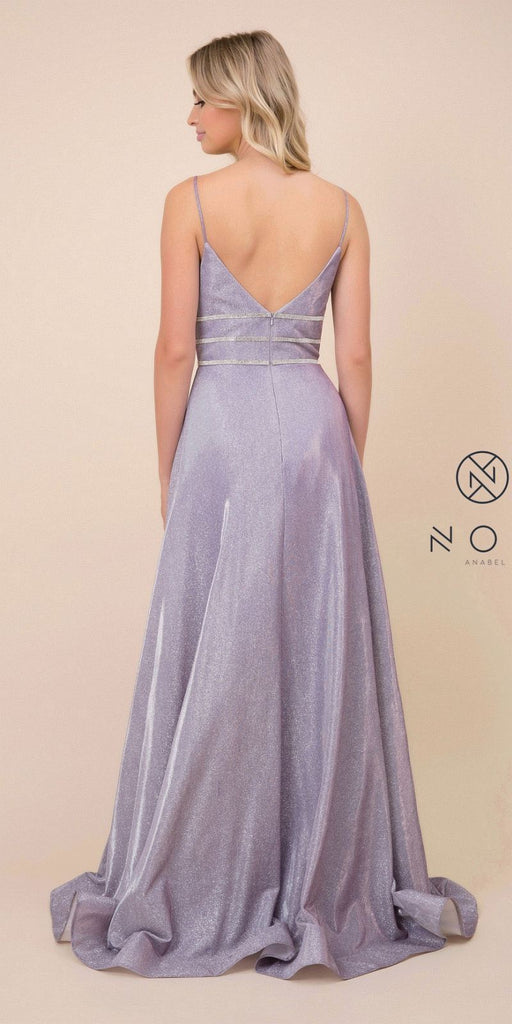 Lilac Metallic Long Prom Dress with Spaghetti Straps