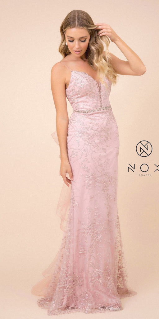 Ruffled-Back Rose Fit and Flare Long Formal Dress