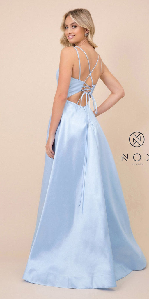 Nox Anabel T406 Floor Length Satin A-Line Prom Gown Blue With Pockets