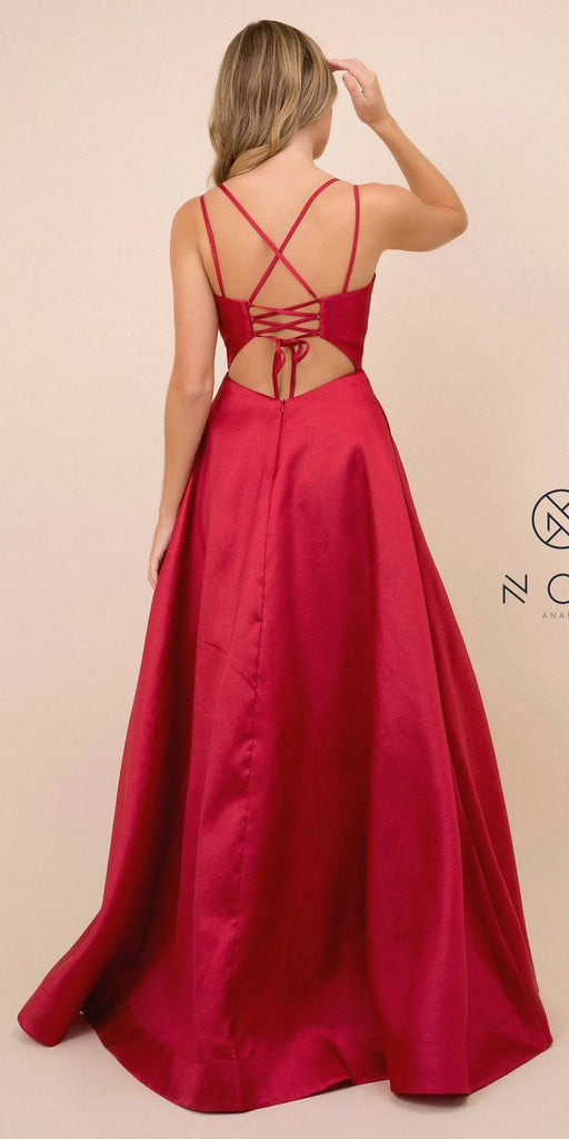 Nox Anabel T406 Floor Length Satin A-Line Prom Gown Burgundy With Pockets