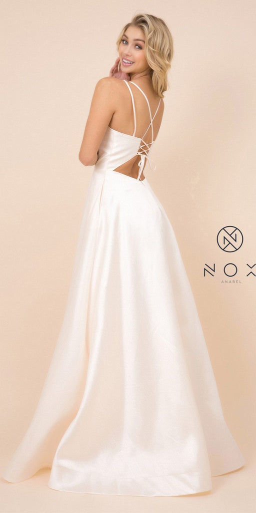 Nox Anabel T406 Floor Length Satin A-Line Prom Gown Cream With Pockets