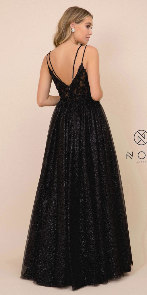 Nox Anabel T407 Full Length Formal Dress Black A-Line Embroidered Bodice