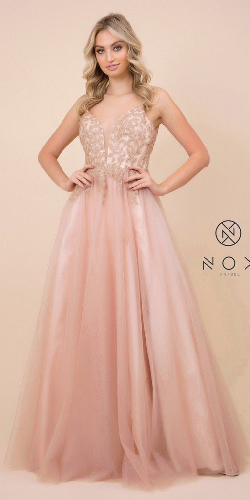 Nox Anabel T407 Full Length Formal Dress Rose Gold A-Line Embroidered Bodice