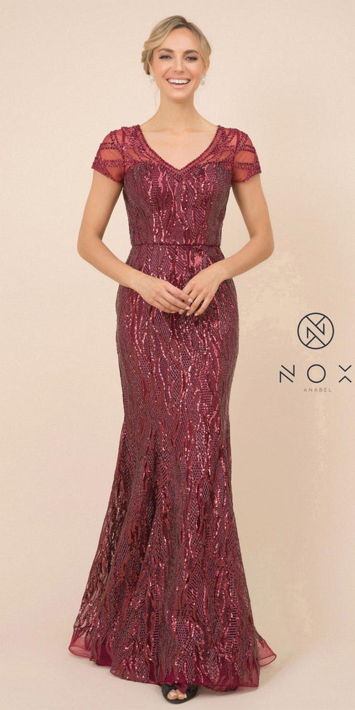 Nox Anabel T419 Long Formal Sequins Burgundy Trumpet Gown Short Sleeves