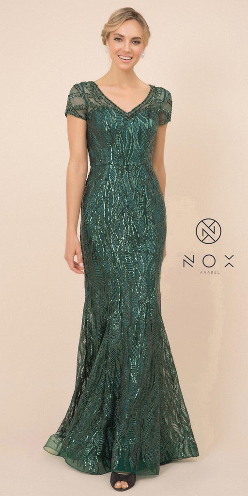 Nox Anabel T419 Long Formal Sequins Green Trumpet Gown Short Sleeves