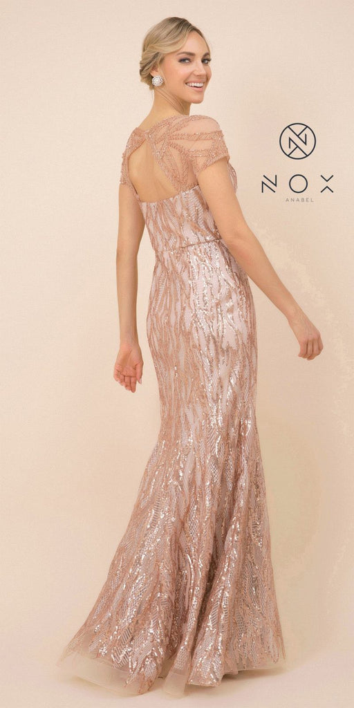 Nox Anabel T419 Long Formal Sequins Rose Gold Trumpet Gown Short Sleeves