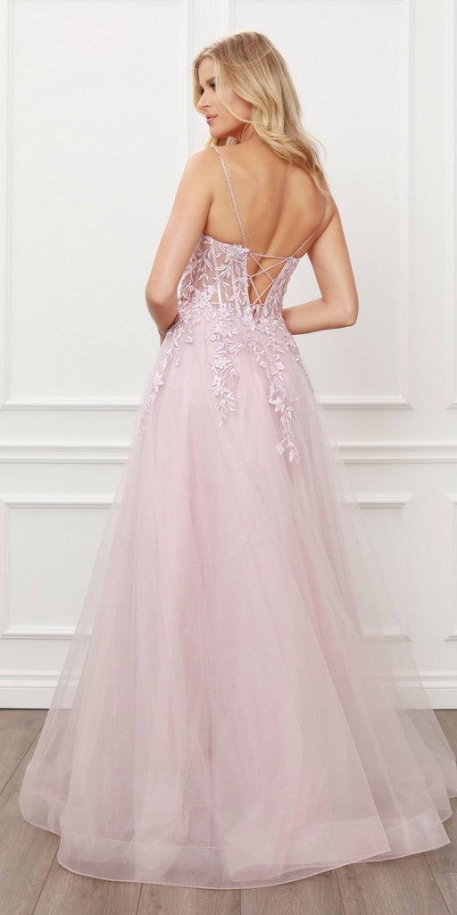 Nox Anabel T449 Floral Embellished Beaded Bodice Blush A-Line Ball Gown