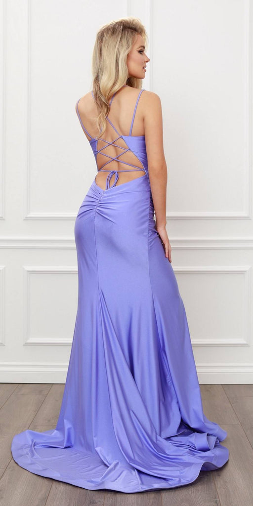 Nox Anabel T481 Long Scoop Neck Spaghetti Strap Fitted Lavender Gown Slit