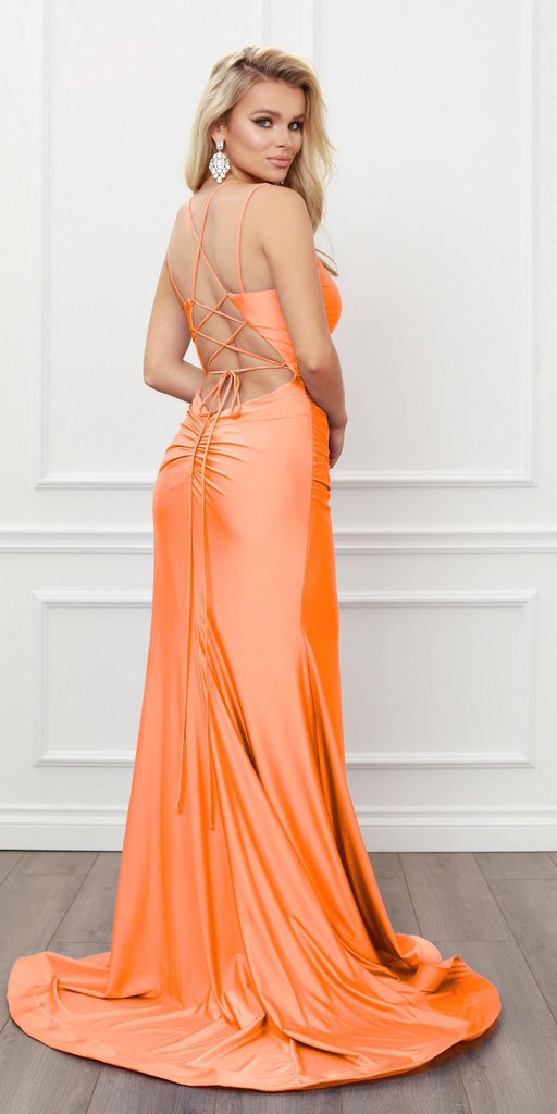 Nox Anabel T481 Long Scoop Neck Spaghetti Strap Fitted Neon Orange Gown Slit