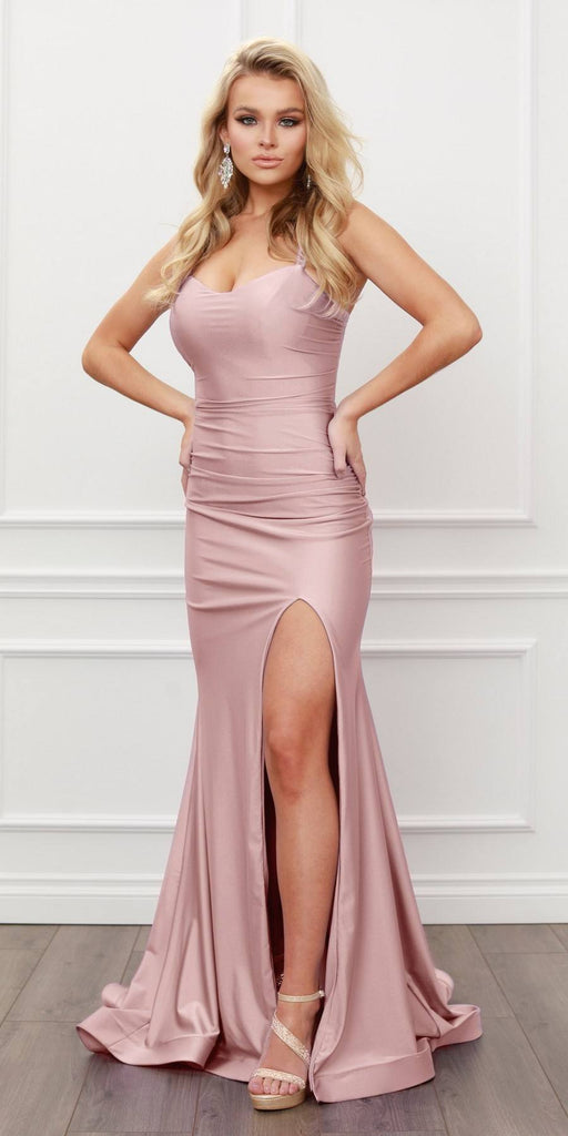 Nox Anabel T481 Long Scoop Neck Spaghetti Strap Fitted Dusty Rose  Gown Slit