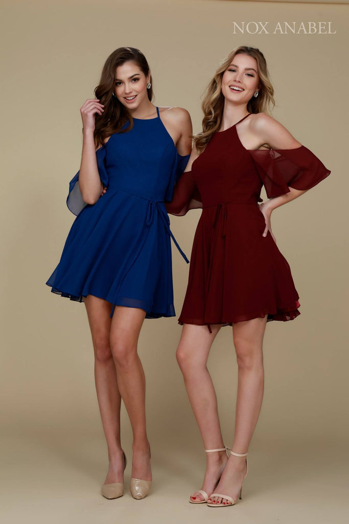 Cold Shoulder Mid Length Sleeve Short Party Dress Combo