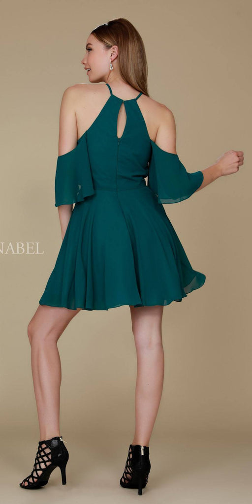 Cold Shoulder Mid Length Sleeve Short Party Dress Green Back View