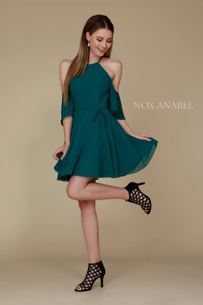 Cold Shoulder Mid Length Sleeve Short Party Dress Green