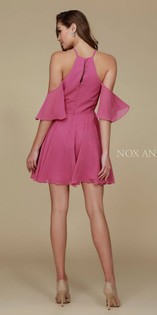 Cold Shoulder Mid Length Sleeve Short Party Dress Mauve Back View