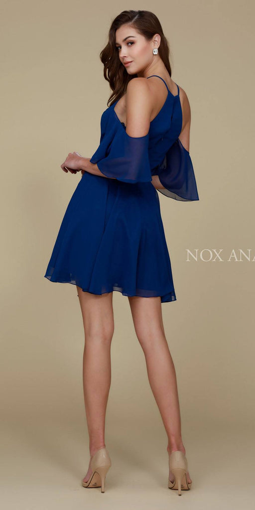 Cold Shoulder Mid Length Sleeve Short Party Dress Navy Back View