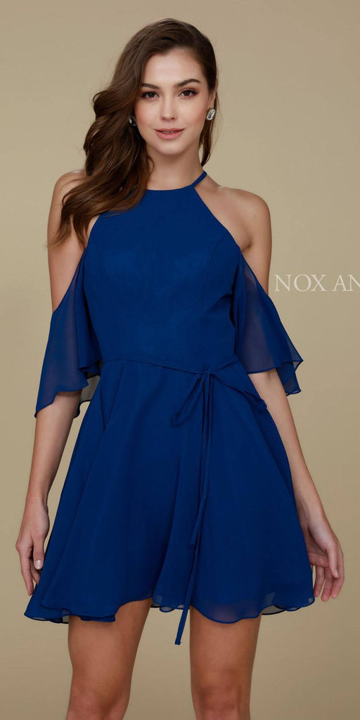 Cold Shoulder Mid Length Sleeve Short Party Dress Navy