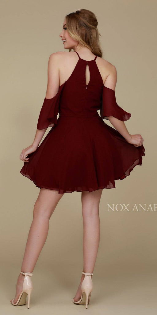 Cold Shoulder Mid Length Sleeve Short Party Dress Wine Back View