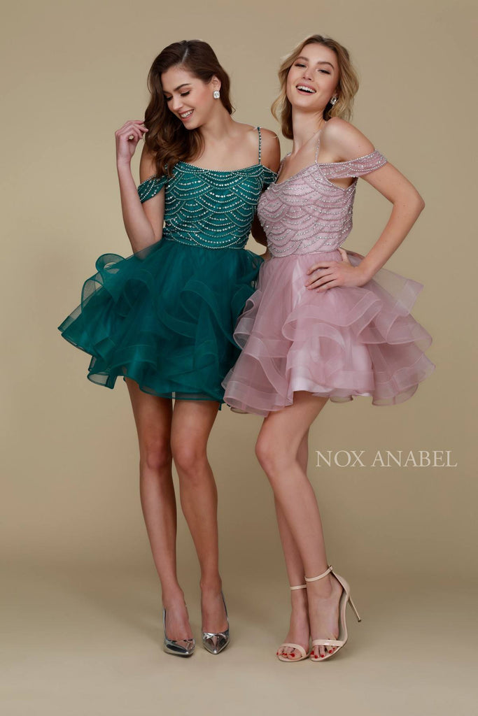 Short Poofy Homecoming Dress Cold Shoulder Strap Combo