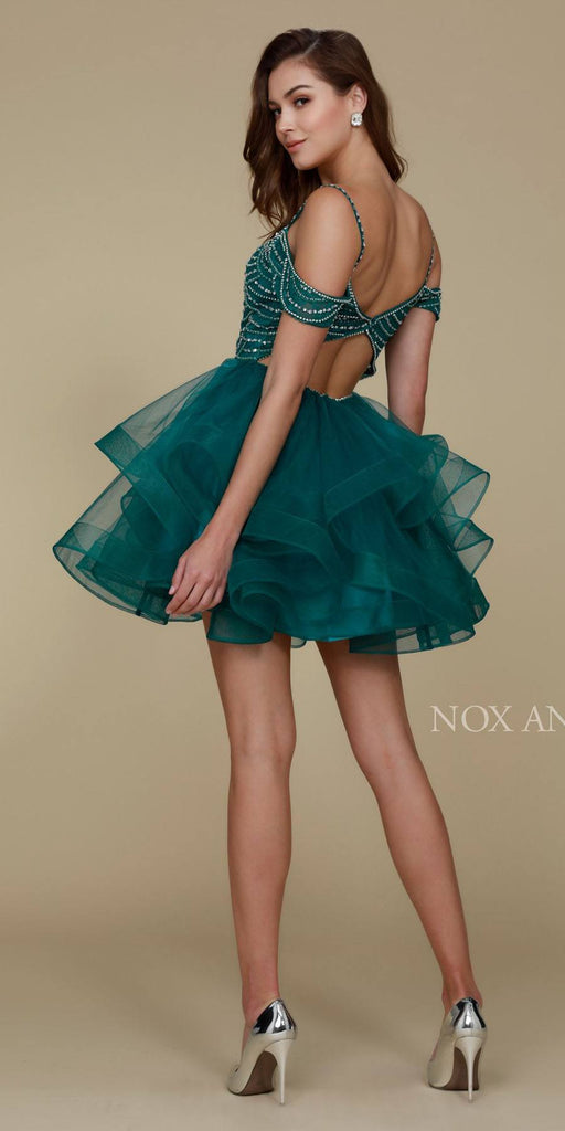 Short Poofy Homecoming Dress Green Cold Shoulder Strap Back View