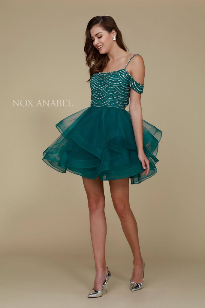 Short Poofy Homecoming Dress Green Cold Shoulder Strap
