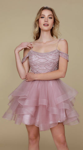 Short Poofy Homecoming Dress Mauve Cold Shoulder Strap