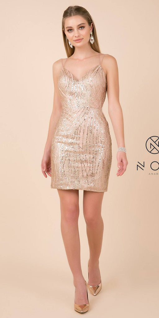 Gold Homecoming Short Dress with Strappy Open Back